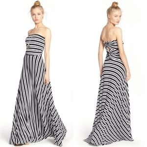 Felicity Coco Black White Stripe Maxi Dress Preppy